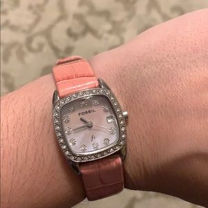FOSSIL Pink Leather Band Watch